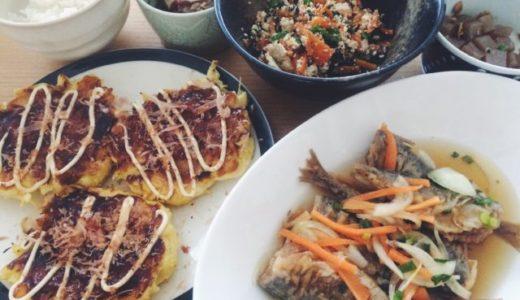 骨まで食べる系鯵南蛮と、ベーキングパウダーなし、山芋なし!のお好み焼き。