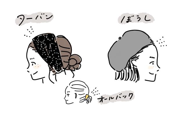 敏感肌 前髪 かゆい 帽子 ターバン イラスト